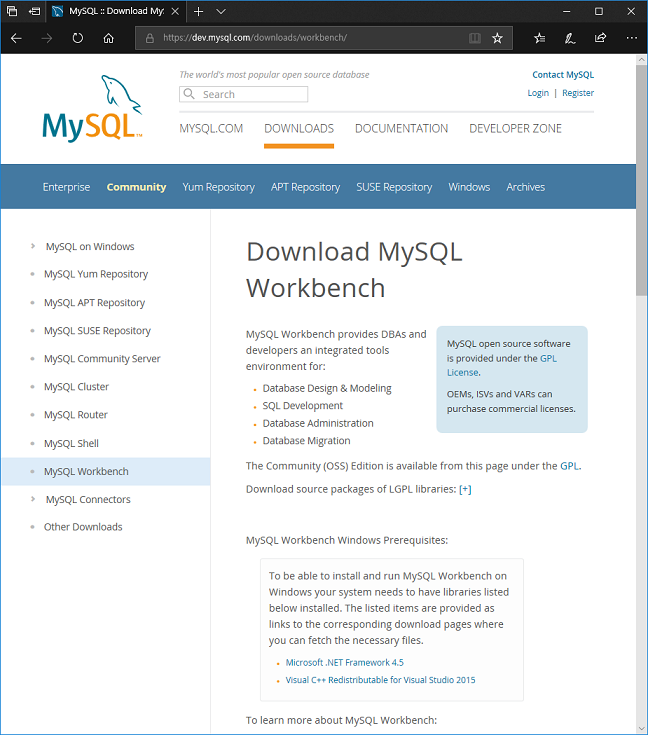 팁스소프트 > MFC/API 가이드 > [DBMS] MySQL Workbench 설치하기